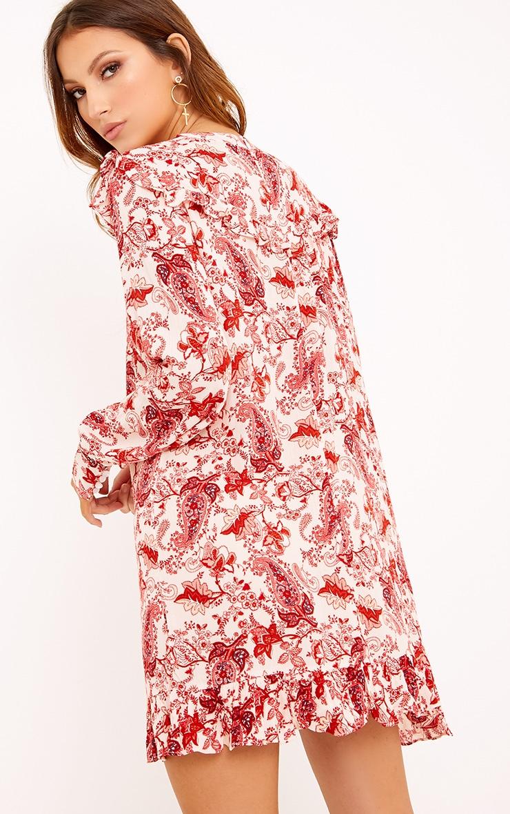 Carolinar Printed Cheese Cloth Frill Shift Dress Red 2