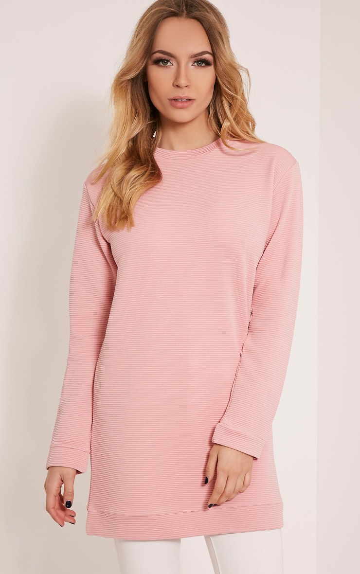 Melonie Blush Ribbed Longline Sweater 1