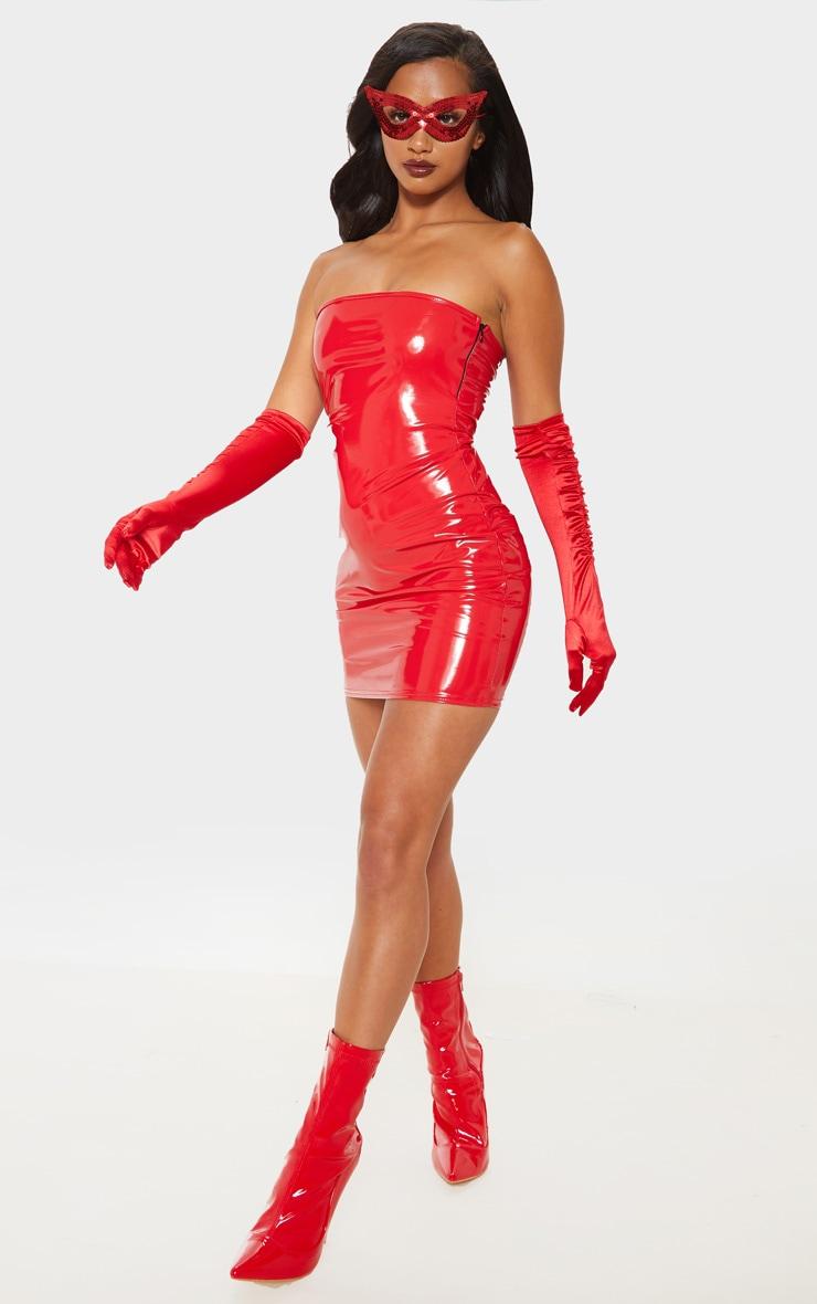 Petite Red Vinyl Mini Dress  4
