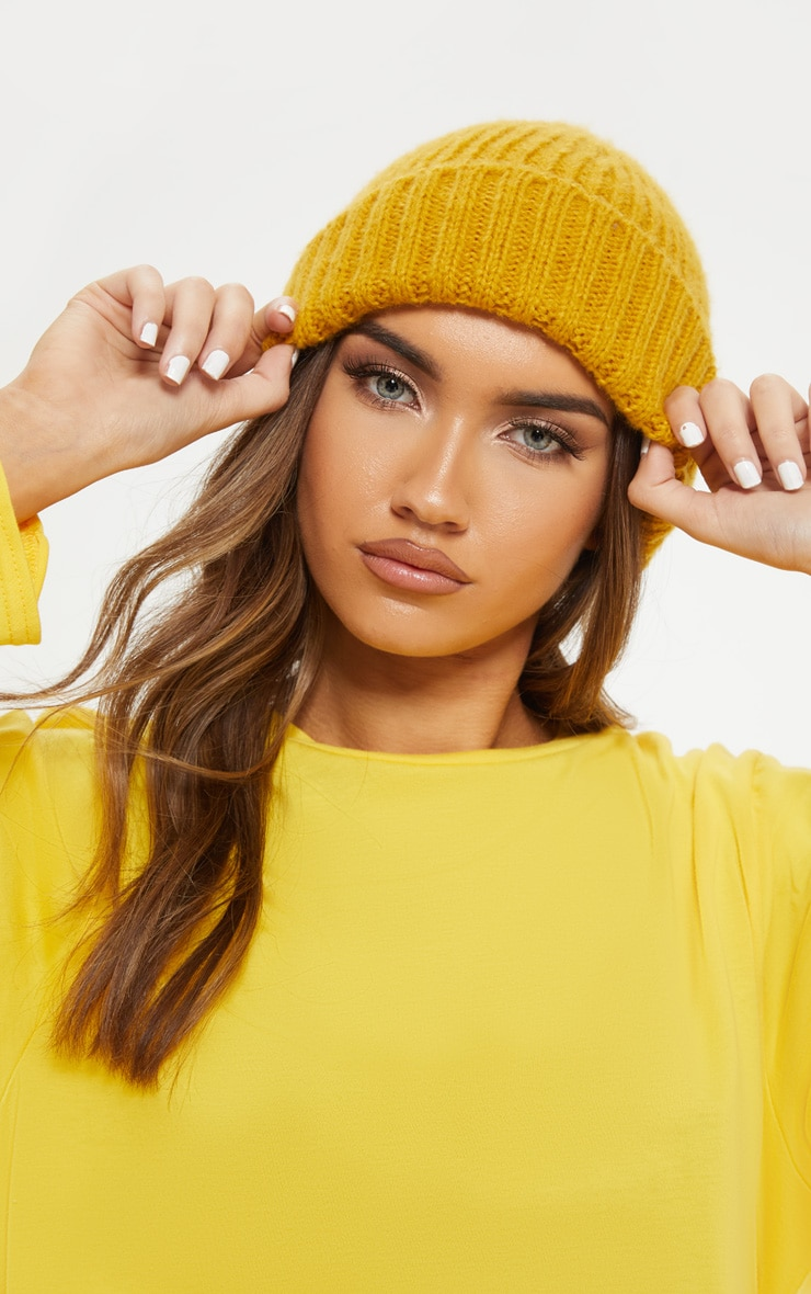 Mustard Ribbed Knitted Beanie 1