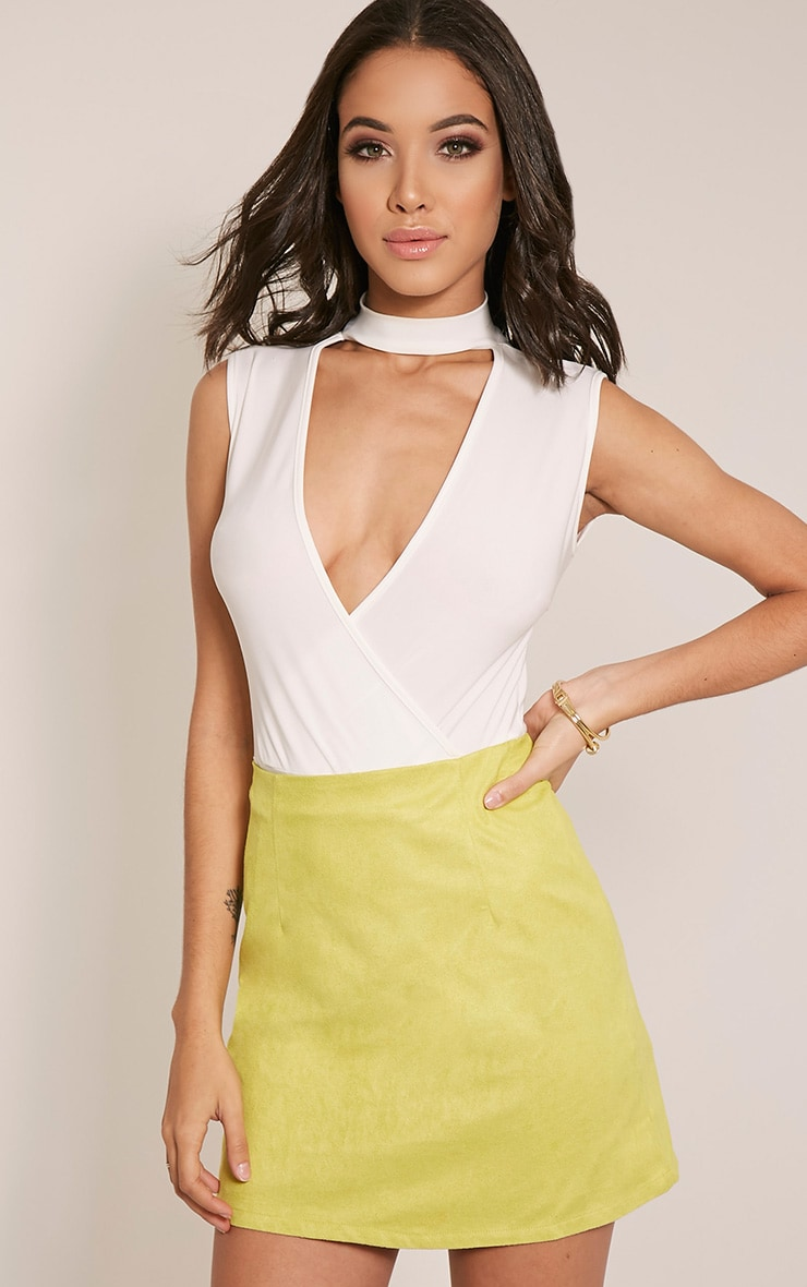 Lauree Lime Faux Suede Mini Skirt 1