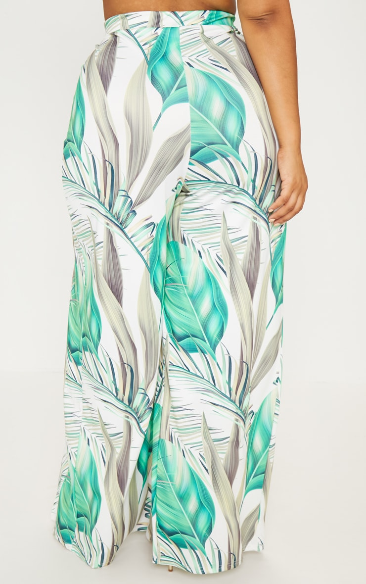 Plus White Tropical Print Wide Leg Trousers 4