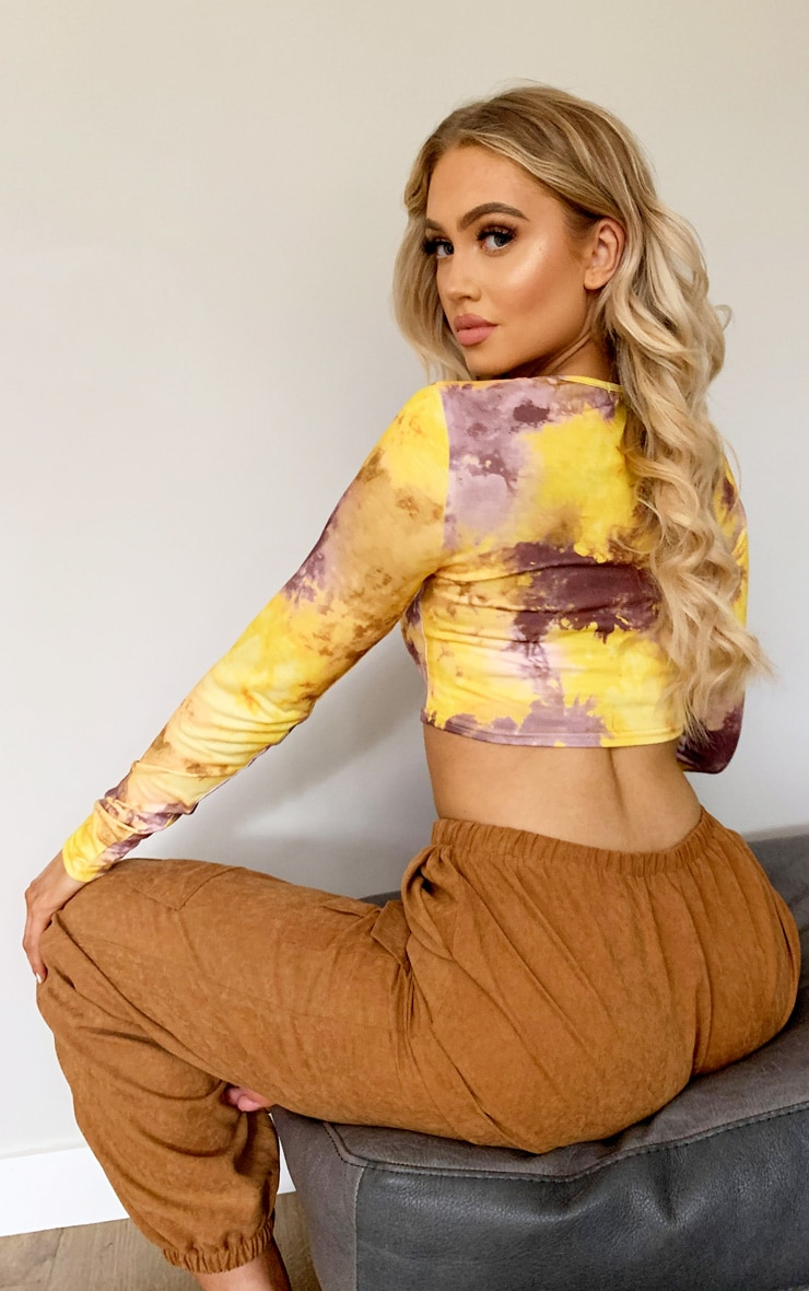 Yellow Tie Dye Long Sleeve Crop Top 2