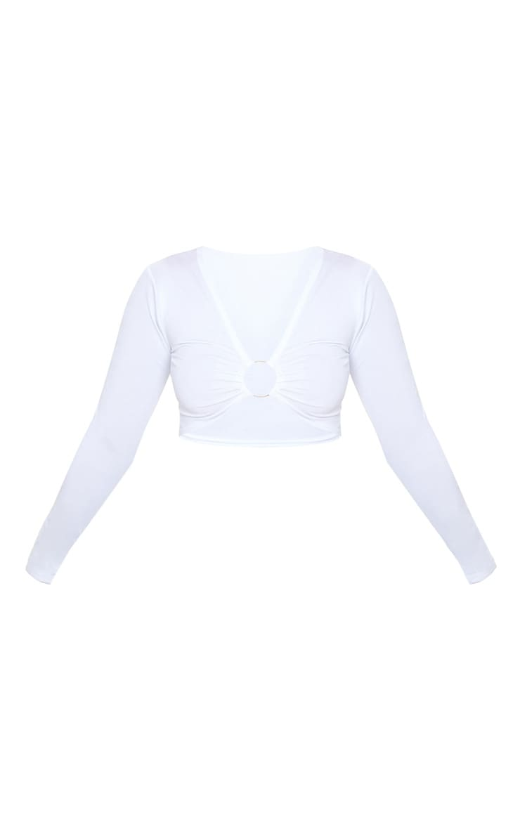 Petite White Ring Detail Long Sleeve Top  3