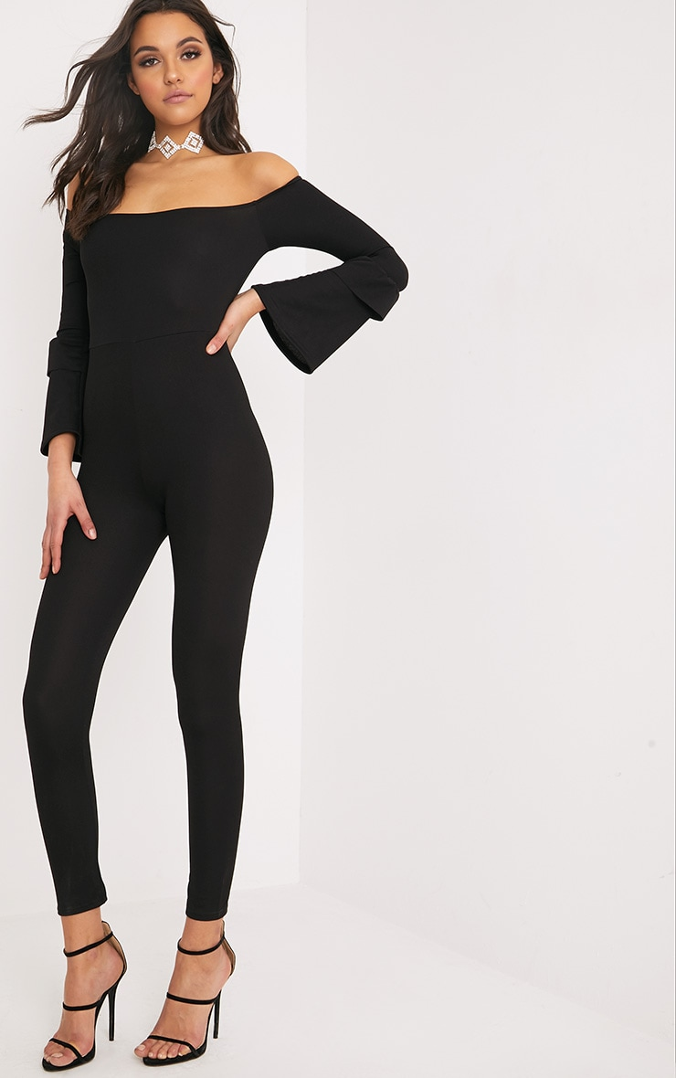 Chantall Black Bardot Bell Sleeve Jumpsuit  2