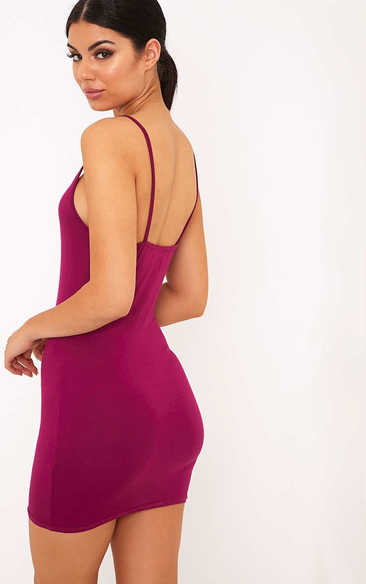 Basic Berry Strappy Bodycon Dress 2