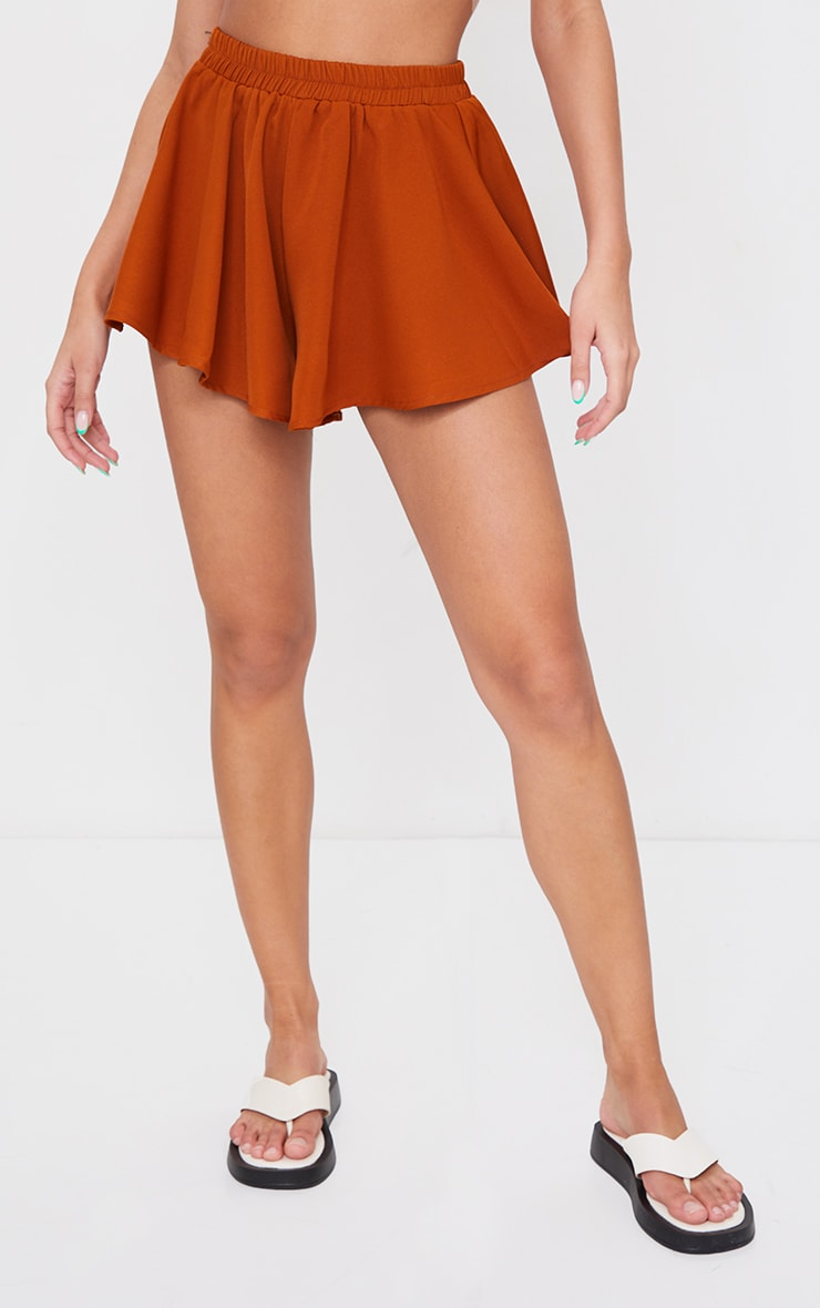 Rust High Waisted Floaty Shorts 2