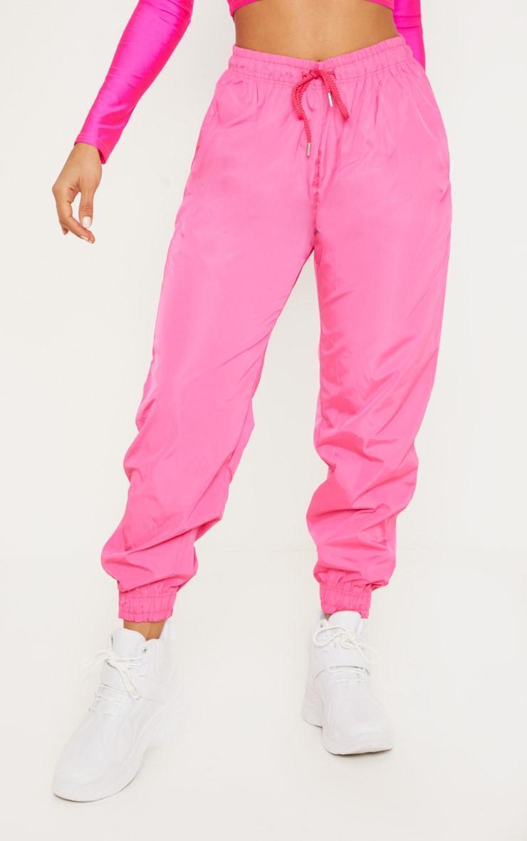 Hot Pink Drawstring Waist Shell Pants 2