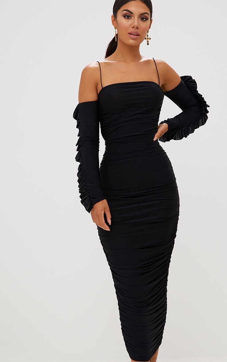 Black Ruched Cold Shoulder Midi Dress 2