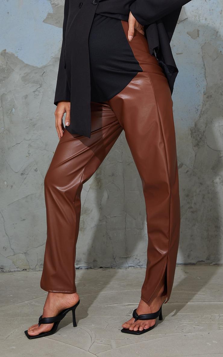 Maternity Tan Faux Leather Split Hem Trousers 2