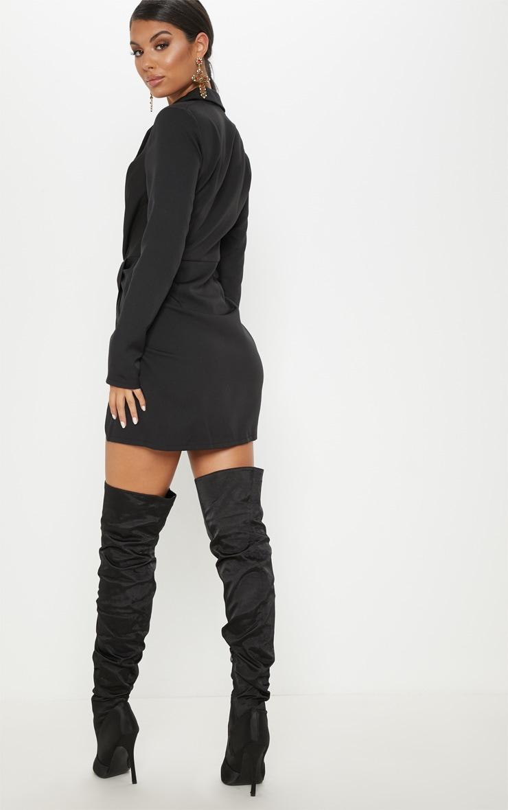 Black Knot Detail Wrap Blazer Dress 2