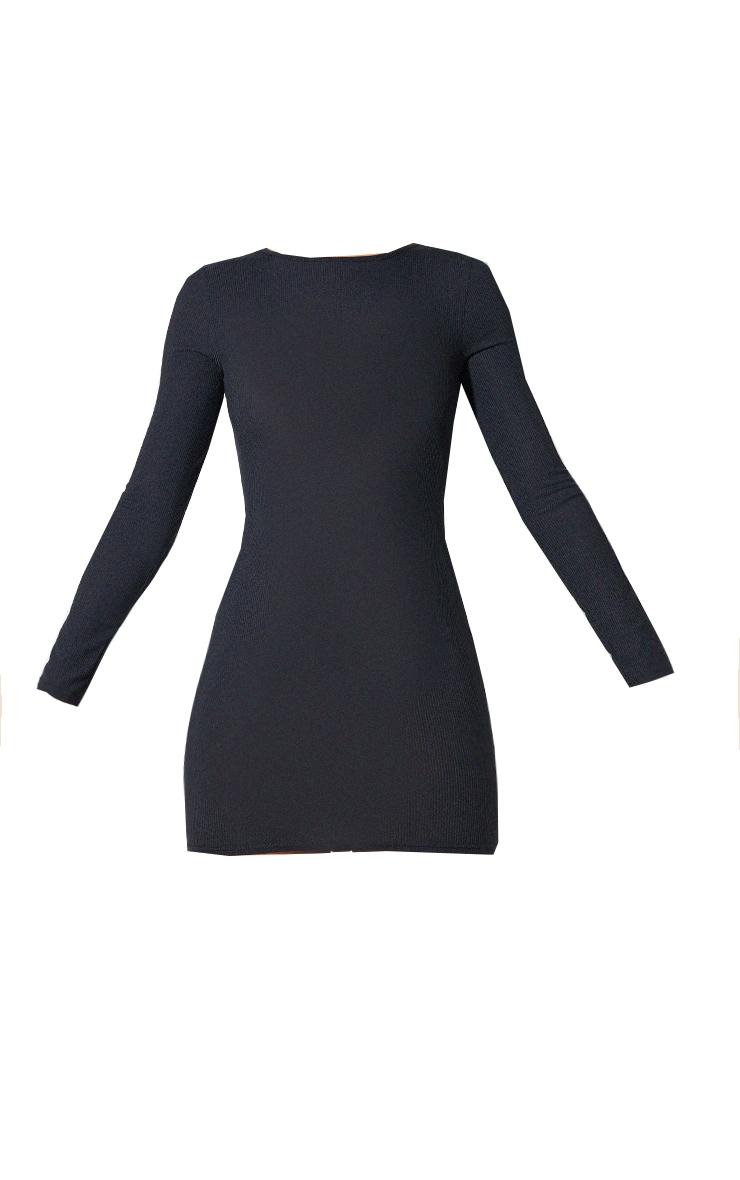 Basic Black Ribbed Long Sleeve Dress 6