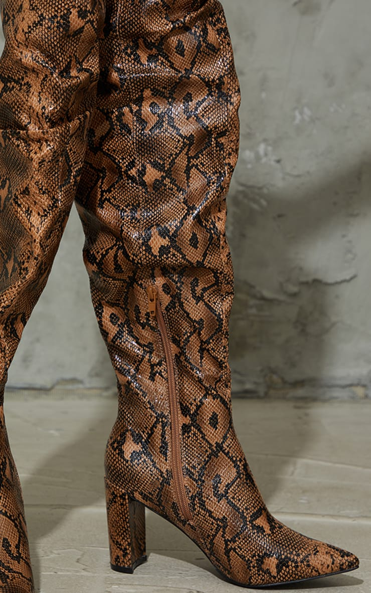 Chocolate Snake Point Toe Flat Heel Over The Knee Boots 3
