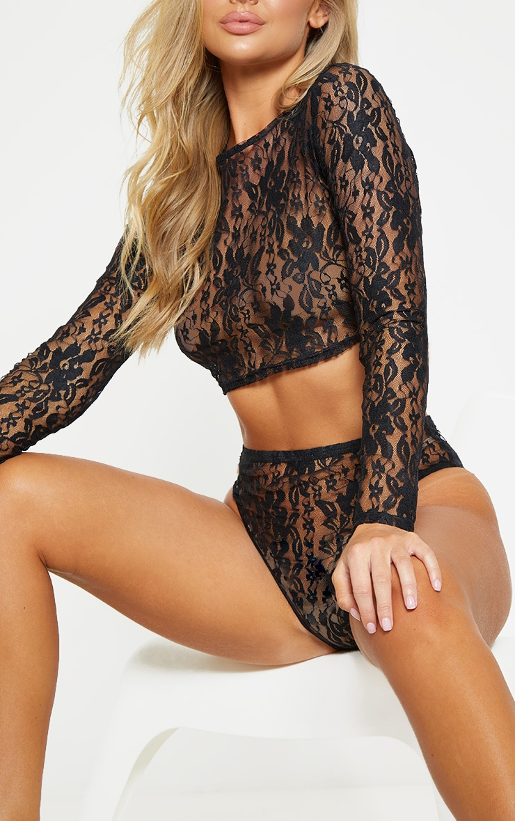 Black Lace Crop Top And Knicker Set 6