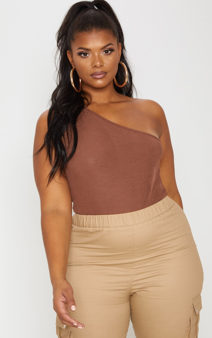 Plus Chocolate Brown Ribbed Asymmetric Bodysuit 1