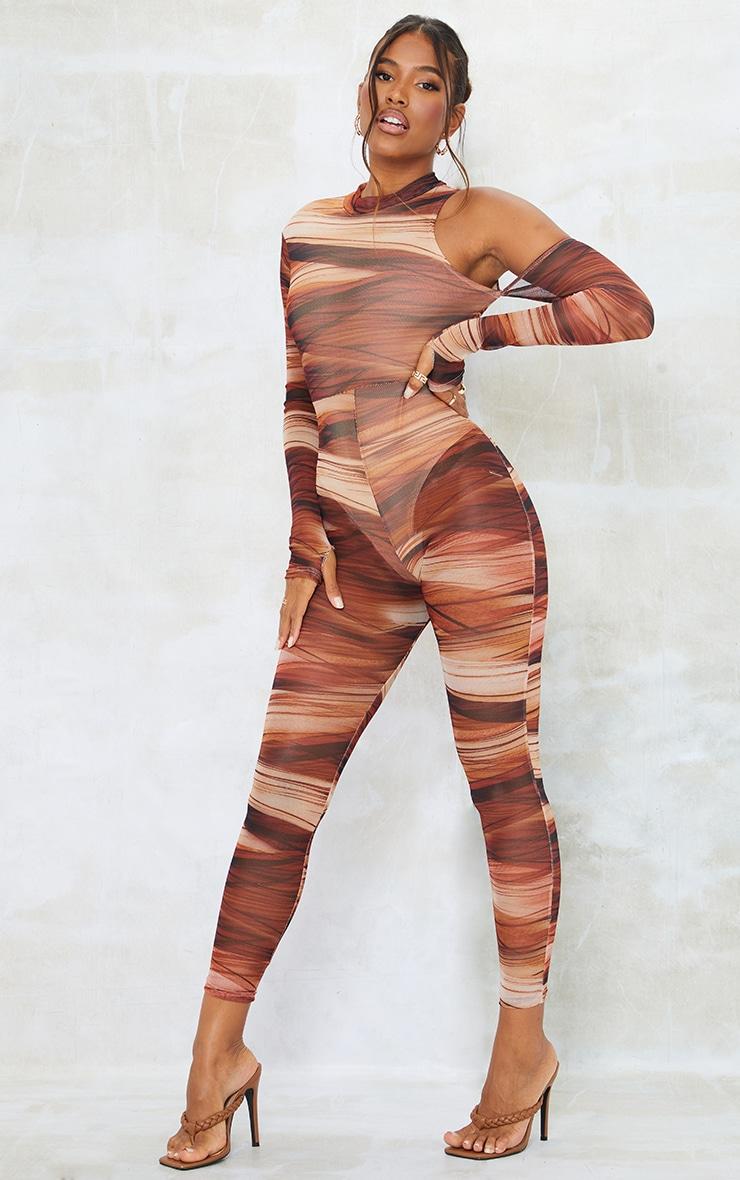 Chocolate Abstract Print Mesh Asymmetric Shoulder Thumbhole Jumpsuit 1