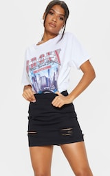619faa5c7b Roschian Super Distress Black High Waisted Denim Mini Skirt image 5