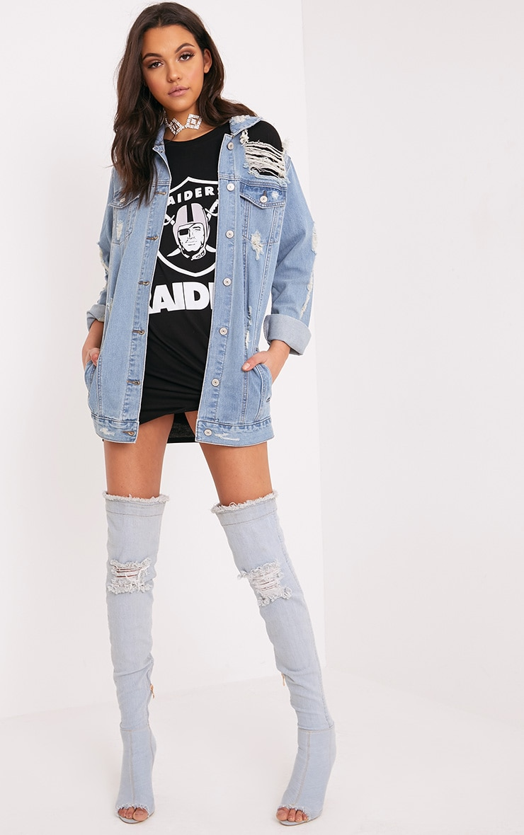 Glory Light Wash Distressed Long Line Denim Jacket 4