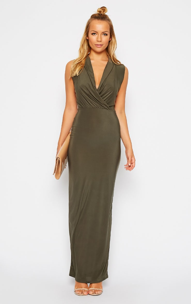 Rabia Khaki Ruched Cowl Maxi Dress 1