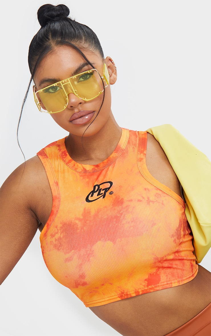 PRETTYLITTLETHING Orange Embroidered Washed Racer Crop Top 4