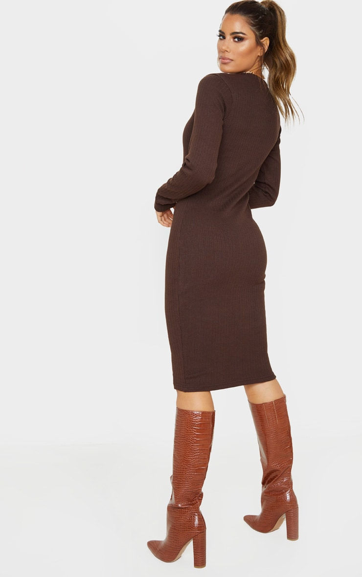 Tall Chocolate Brown Knitted Long Sleeve Midi Dress 2