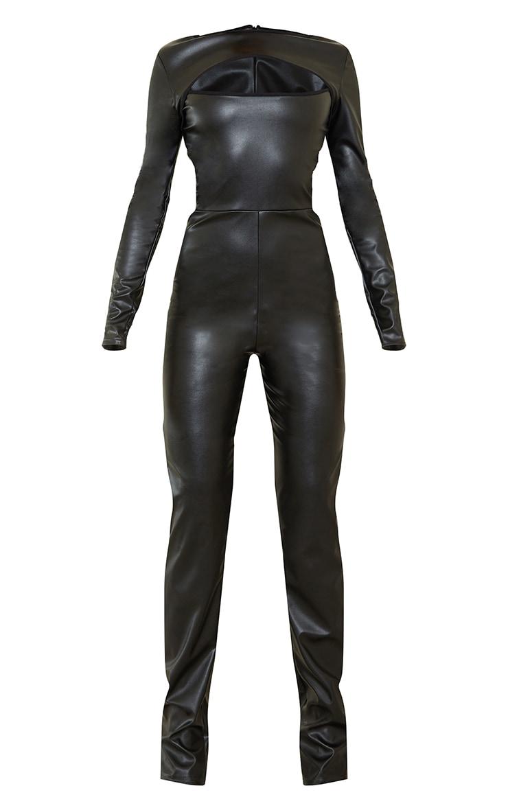 Black PU Cut Out Long Sleeve Jumpsuit 5