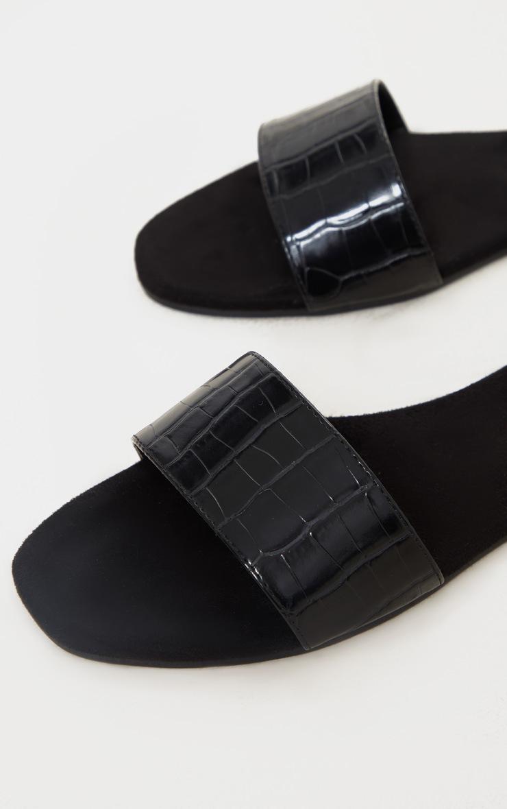 Black Single Strap Mule Sandals 4