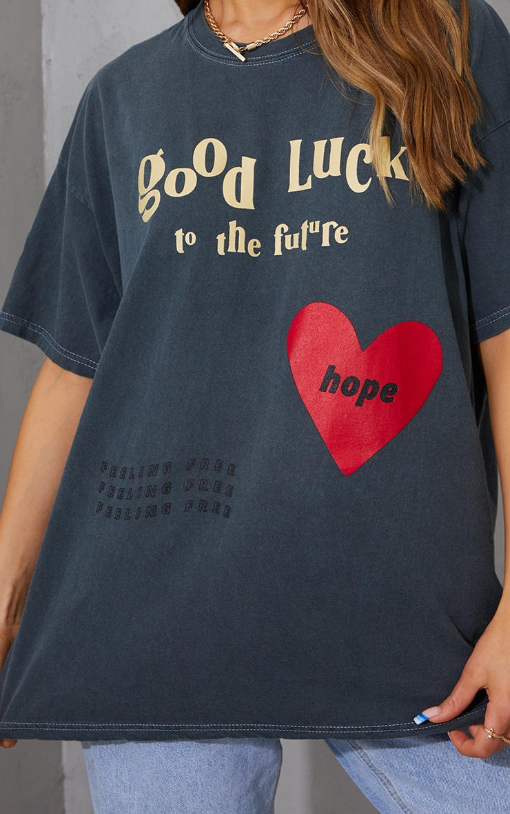 Charcoal Good Luck Heart Print Washed T Shirt 4