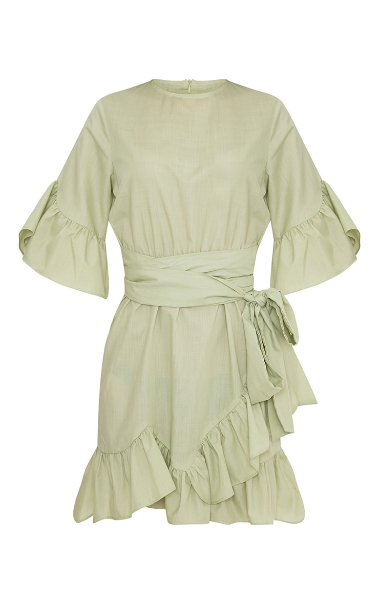 Aaliyah Sage Green Frill Detail Mini Dress 3