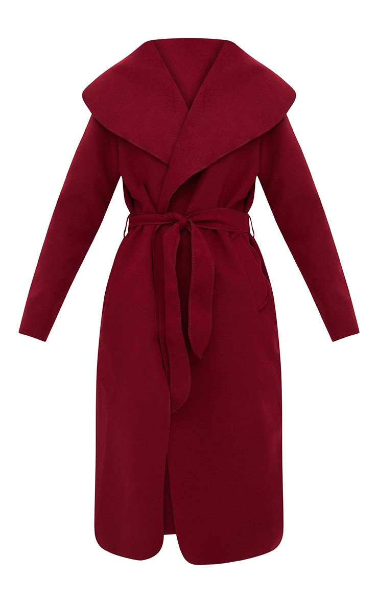 Burgundy Oversized Waterfall Belted Coat 3
