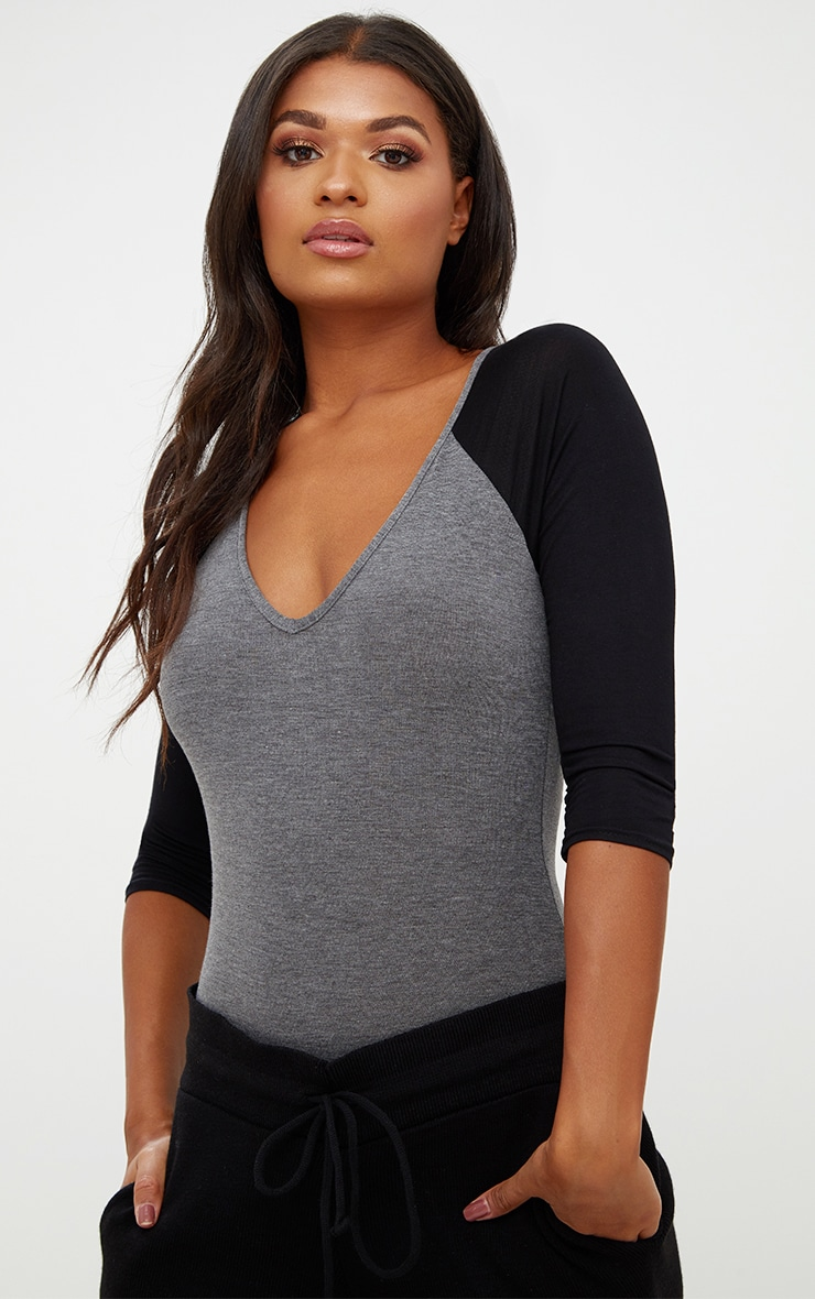 Charcoal Jersey Contrast Sleeve Thong Bodysuit 2