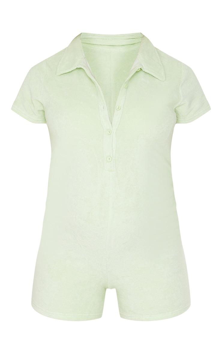 Maternity Sage Green Towelling Short Sleeve Romper 5