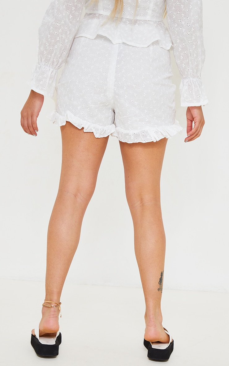 Petite White Broderie Anglaise Ruched Detail Shorts 3