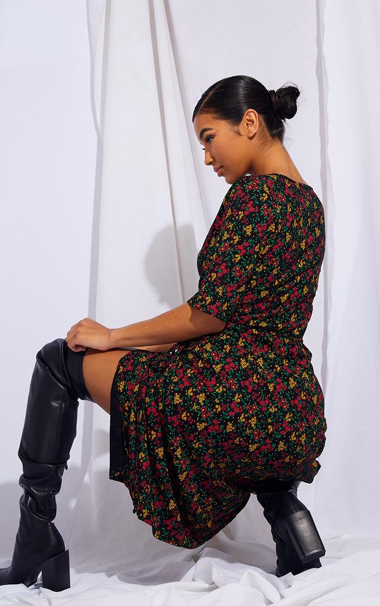 Multi Floral Print Wrap Tie Short Sleeve Midi Dress 2
