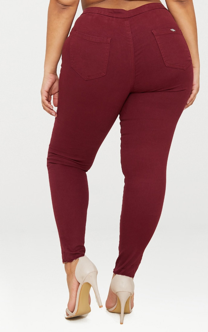 Plus Burgundy Disco Skinny Jeans 4