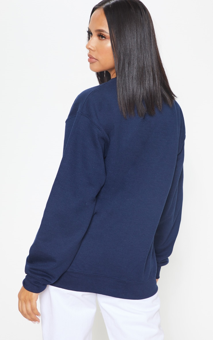 Navy Columbia Embroidered Oversized Sweater 2