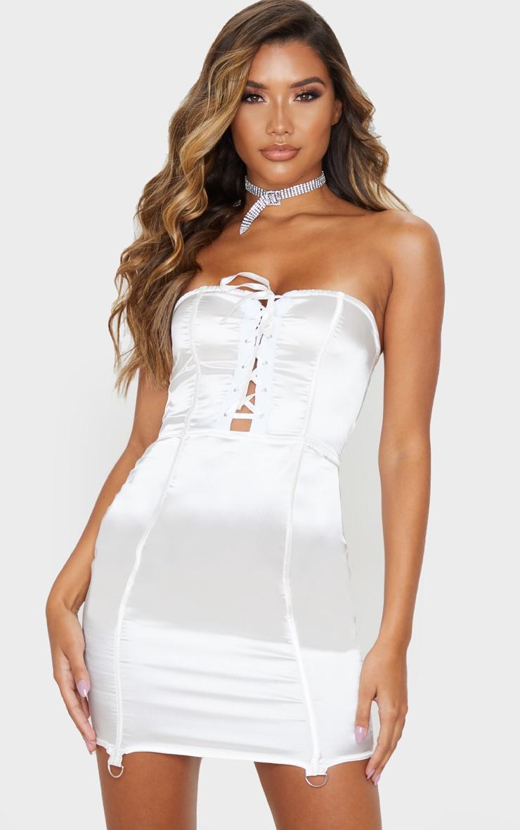 White Satin Lace Up Detail Bandeau Bodycon Dress 1
