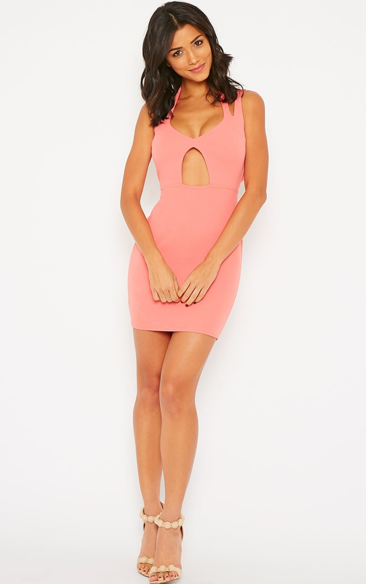 Audrina Coral Crepe Cut Out Mini Dress 5