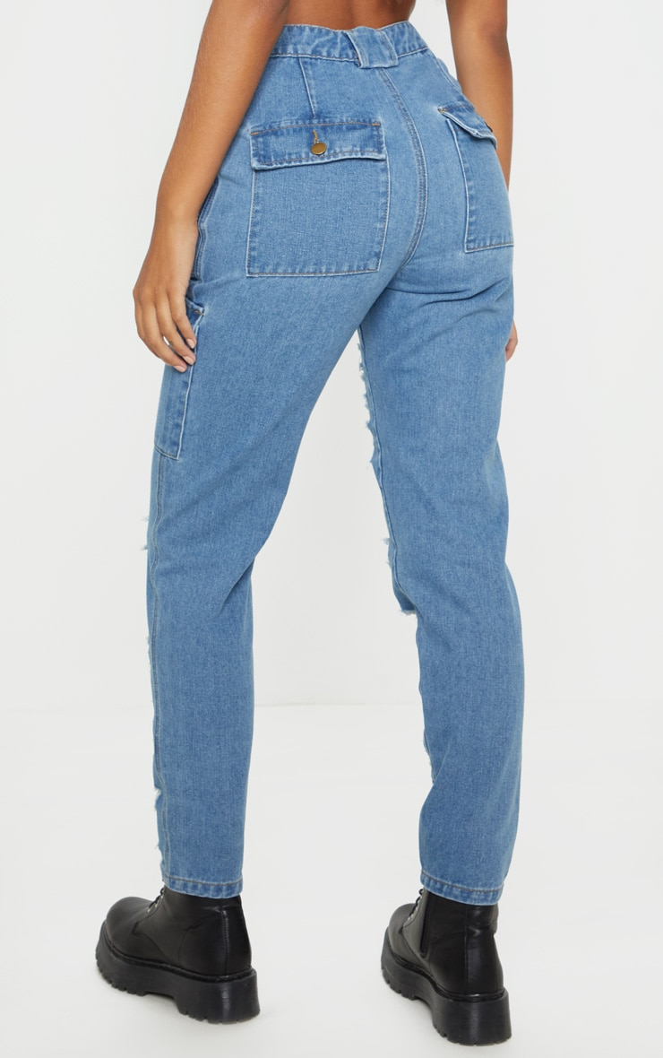 Mid Wash Heavy Distressed Cargo Jeans 4