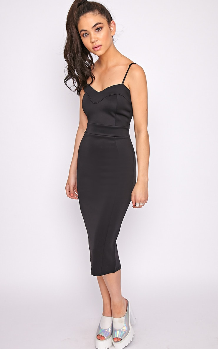 Traci Black Bodycon Midi Dress 4