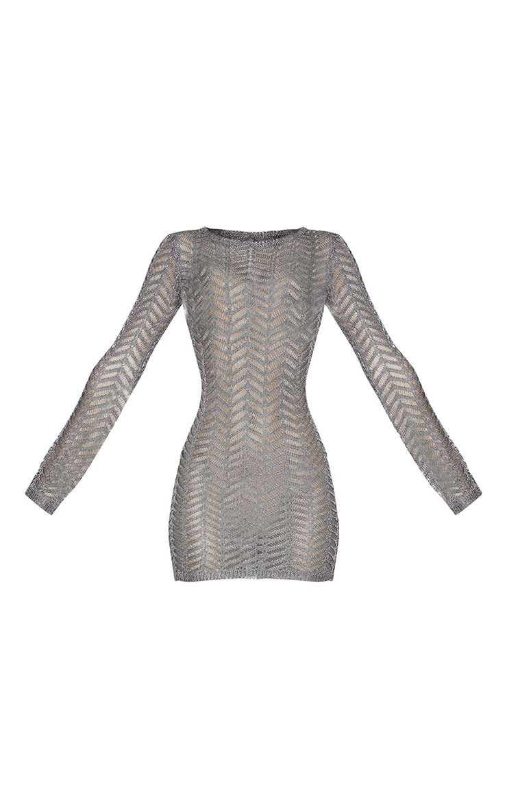 Gunmetal Metallic Chevron Knitted Crochet Dress 5