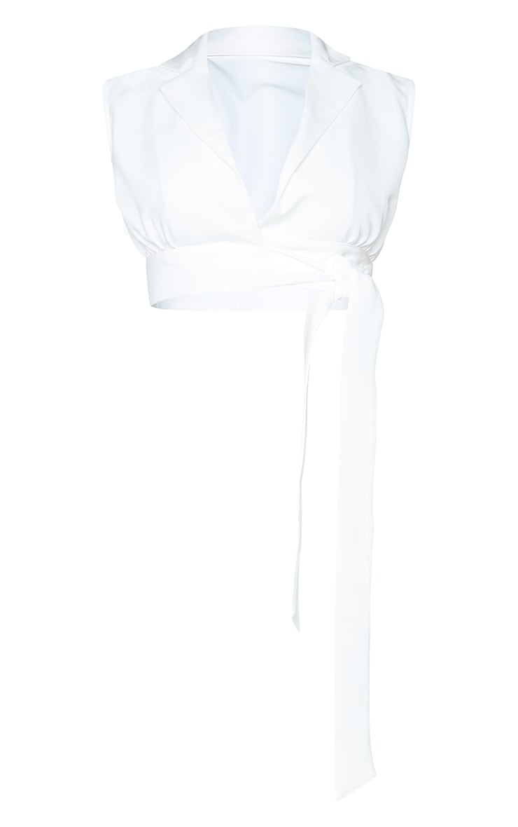 White Woven Tie Side Sleeveless Top 5