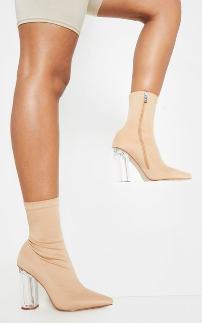 Nude Clear High Heel Sock Boot