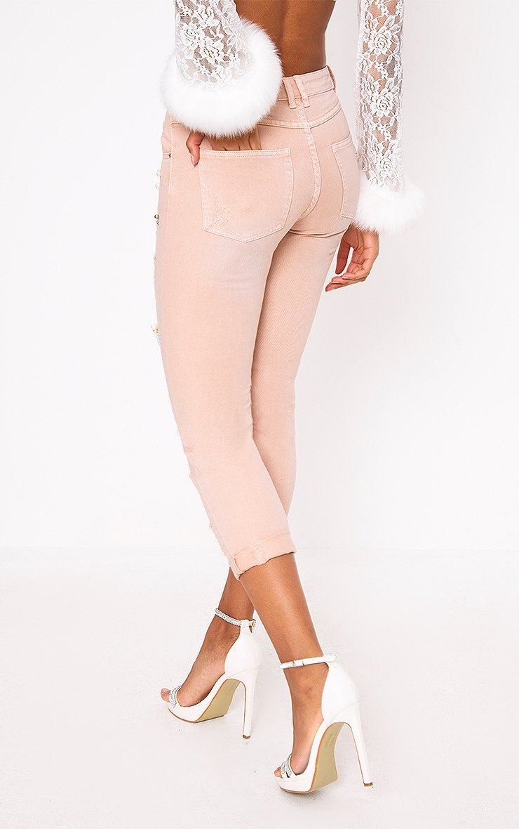 Pink Embellished Mom Jean 4