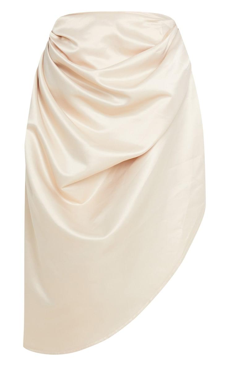 Cream Satin Woven Ruched Side Midi Skirt 3