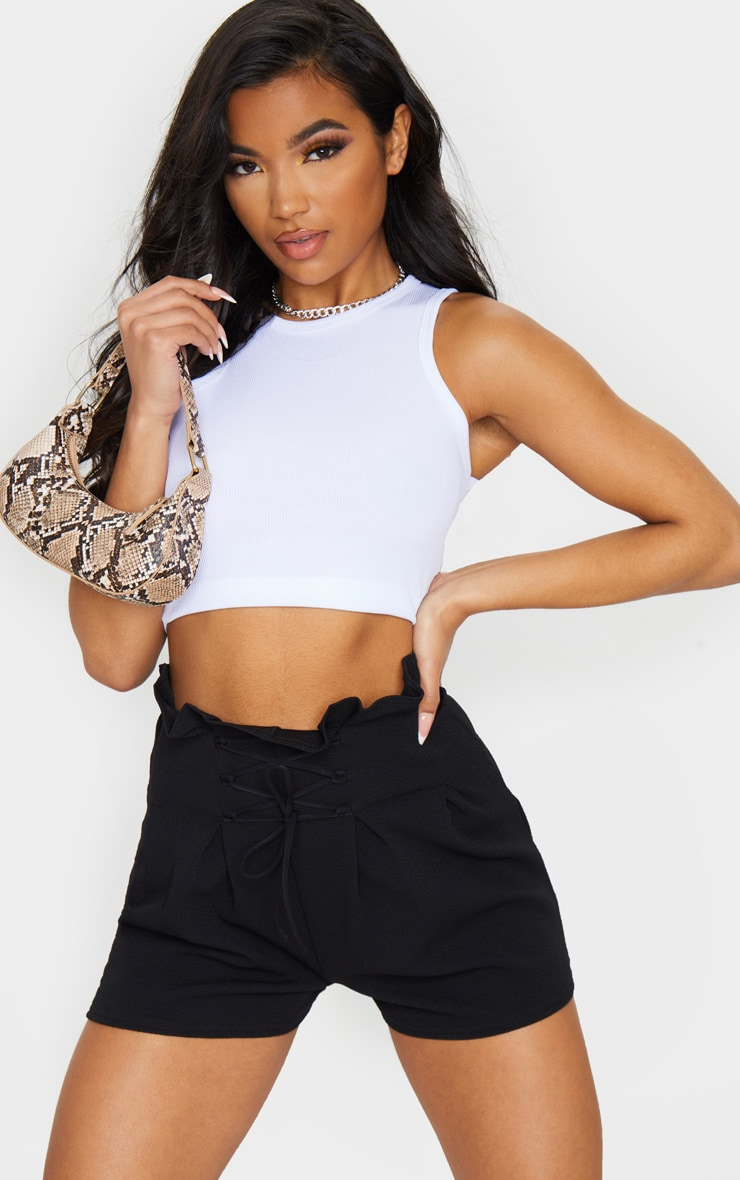 Black Lace Up Tailored Shorts 4