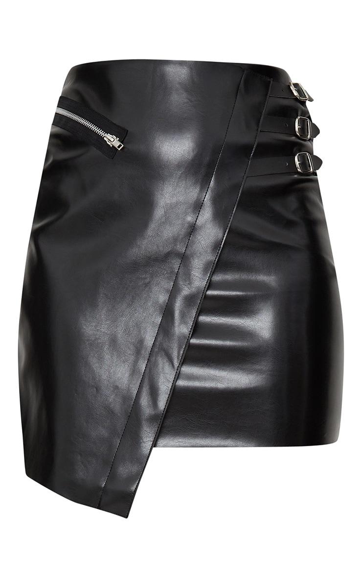 Black Faux Leather Wrap Buckle Mini Skirt 3