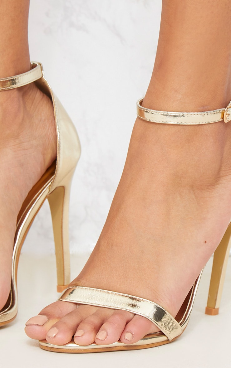 Gold Metallic Heeled Strappy Sandal 5