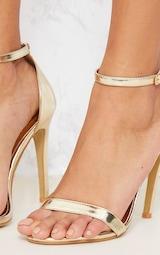 Gold Metallic Heeled Strappy Sandal 5