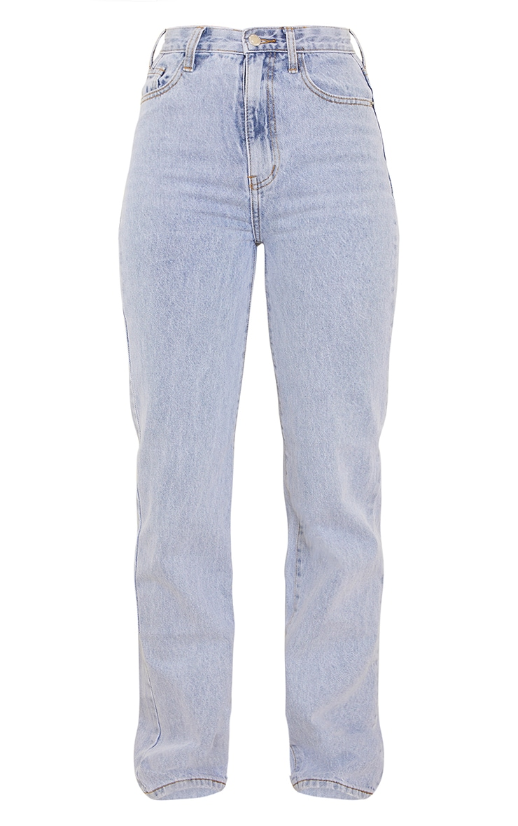 Light Blue Wash High Waist Straight Leg Jeans 5